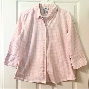 Old Navy Pink & White Button Down Dress Shirt